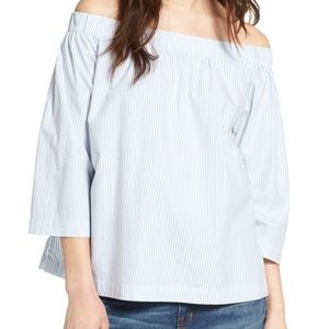 Madewell Pinstriped Off The Shoulder Blouse